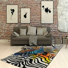Funky Aztec Zebra Rugs In Black White & Multi Colours Ultra Modern 160x230cm KL