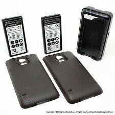 2 x 6500mAh Extended Battery for Samsung Galaxy S5 SV I9600 Black Cover Dock