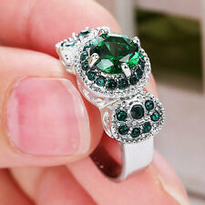 Size7 Green Emerald gem Round Engagement Ring white Rhodium Plated Fashion Party