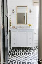 Lyon Victorian Vintage Encaustic Porcelain Black White Wall Floor Tiles 25 x 25