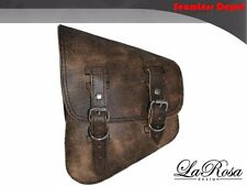 2004-2010 La Rosa Rustic Brown Leather Harley V Rod Left Solo Mount Saddle Bag