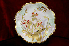 ANTIQUE LIMOGES PORCELAIN PLATE HAND PAINTED GOLD FLOWERS COIFFE FRANCE