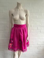 £155 Laura Lees Lisa Fuchsia Embroidery Silk Skirt Size SS UK 8 US 4-6 EU 34-36