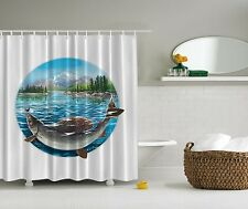 Blue Fish Nautical Fishing Cabin Fabric Shower Curtain Digital Art Bathroom