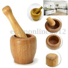 New Wooden Mortar & Pestle Garlic Ginger Herb Mixing Grinding Spice Crusher Bowl
