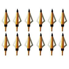 12pcs New Archery Hunting 100 Grain Broadheads 3 Blade Arrowheads Screw in Point