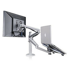 Réglable pc portable & monitor dual desk mount support
