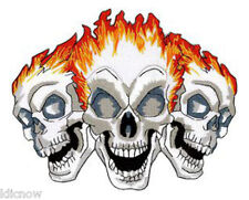 """THREE SKULLS FLAME EMBROIDERED PATCH12 X 10CM(4 3/4"""" X 4"""")"""