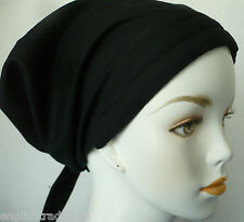 Alopecia Cancer Chemo Hat Hair Loss Black Scarf Cotton Turban Head Wrap Cap