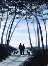 LRG GREYHOUND WHIPPET LURCHER PAINTING 6540 DIANNE HEAP ART TREES DOGS PRINT