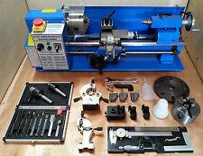 """Cj18a Mini Torno Paquete Azul 3-Nuevo 7x14 Máquina Con Dro & 4 """"Chuck"""