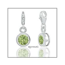 Sterling Silver CZ Round Drop Charm w/ Lobster Clasp 19mm Peridot Green #94011