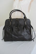 Lancome Large Coffee Tassled Satchel Faux Leather Bag