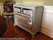 Hollywood Regency Mirrored Console Cabinet Chest SILVER Bedroom Furniture Glam