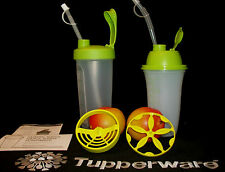 Tupperware 2 Style GREEN Quick Shake Smoothie Blenders NEW ~16 oz ~23 oz