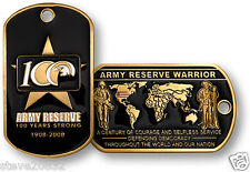 NEW U.S. Army Reserve 100 Years Strong Reserve Warrior Dog Tag. 60887.