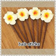 set of 4 hair pin /sticks frangipani white