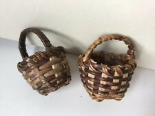 Miniature Wicker Basket For Dolls, Teddy's Decoration. Set Of 2.