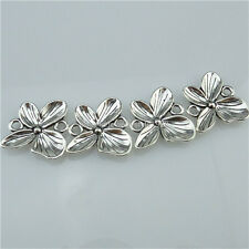 13464 20PCS Vintage Silver Tone Alloy Flower Butterfly Connector Jewelry Making