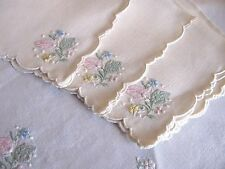 "Vintage Linen Embroidered Pastel Floral Applique Tablecloth & 4 Napkins  42"" Sq"