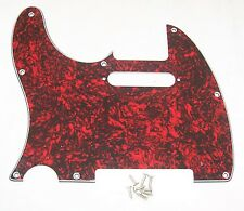 LEFT HANDED SCRATCHPLATE FOR FENDER TELECASTER ETC / FAUX RED TORTOISE SHELL
