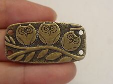 10 owl connector bronze 4 hole joiner craft sew on