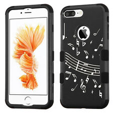 Hybrid Tough Phone Case (Black/Black) for Apple iPhone 7 PLUS -Music Note Black