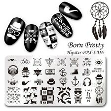 BORN PRETTY Nail Art Stamp Image Plate Hipster Theme Manicure Template Decor