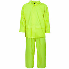 MENS LADIES UNISEX OVERALL HI VIZ HOODED WATERPROOF PVC RAINSUIT WORK RAIN WEAR