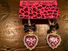 NWT Authentic Betsey Johnson pink cheetah heart earrings with bows