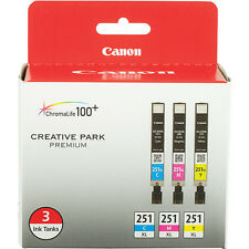 Canon CLI-251XL 3-Cartridge Color Ink Set, New in Retail Box !!!