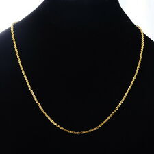 Gold Plated Stainless Steel Necklace Flat Curb Link Cross Chain 50.7cm