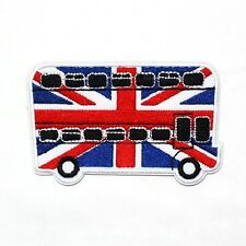 New! LONDON Double Decker Union Jack Bus British England UK Symbol IRON ON PATCH