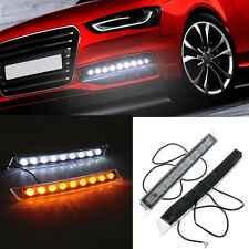 2x 9LEDs Daylight Daytime Running Driving DRL LED Light w Yellow Turn Signals
