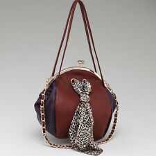 Women Leather Handbag Two Tone Kiss Lock Shoulder Bag, Leopard Print Bag Brown