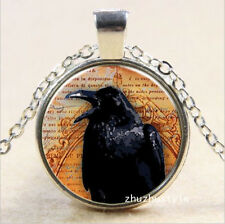 Vintage Halloween bird Cabochon Tibetan silver Glass Chain Pendant Necklace V35