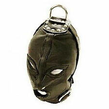 PU Leather Eyes & Mouth Open bondage Gimp Mask Hood W/ Rope Attachment ON