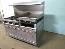 """VULCAN"" HD COMMERCIAL NATURAL GAS 6 BURNERS STOVE w/24""x 24"" GRIDDLE + 2 OVENS"