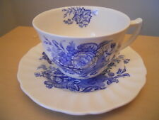 Royal Doulton Cup and Saucer White w/Blue Flowers The Kirkwood - Made in England
