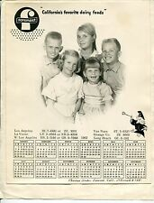 "Vintage ""Foremost"" Dairy Custom Promo: 1962 Wall Calendar w/ Family Photo"