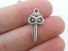10 Owl key charms antique silver tone K34