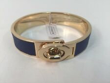 "Coach Hinged Bangle Bracelet Blue Leather Gold Turnlock 1/2"" Authentic NWT"