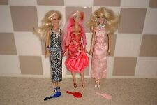 BARBIE DOLLS IN LONG PARTY DRESSES WITH EARRINGS NECKLACES SHOES & HAIRBRUSHES