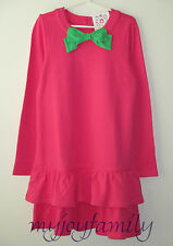 HANNA ANDERSSON Tiered Ruffled Cozy Terry Tunic Dress Zing Pink 150 12 NWT