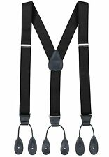 NEW Mens Black Button on Suspenders Tuxedo Tux Braces Y Back Elastic Made in USA