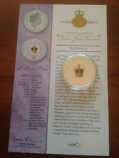 2003 Silver Proof 1oz $1 One Dollar Colour Coin. ER Jubilee St Edward's Crown