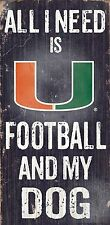 "MIAMI HURRICANES FOOTBALL and my DOG WOOD SIGN & ROPE 12"" X 6""  NCAA MAN CAVE!"