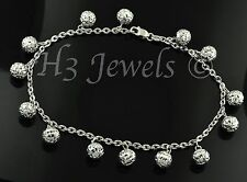18k white gold charm bracelet ball  bracelet  diamond cut 5.20 h3jewels #2524