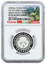 2017 China 8g Silver Berlin World Money Fair Panda NGC PF69 Great Wall SKU46157