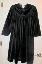 FLORENCE EISEMAN Girls Size 12 Full Length Black Velvet Coat Button RuffleCollar